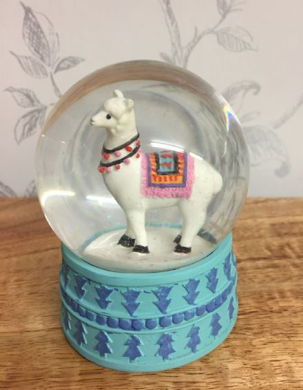 Alpaca Glitter Snow Globe Waterball with Blue Base ~ White